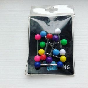 Set of neon 14G body jewelry bolts